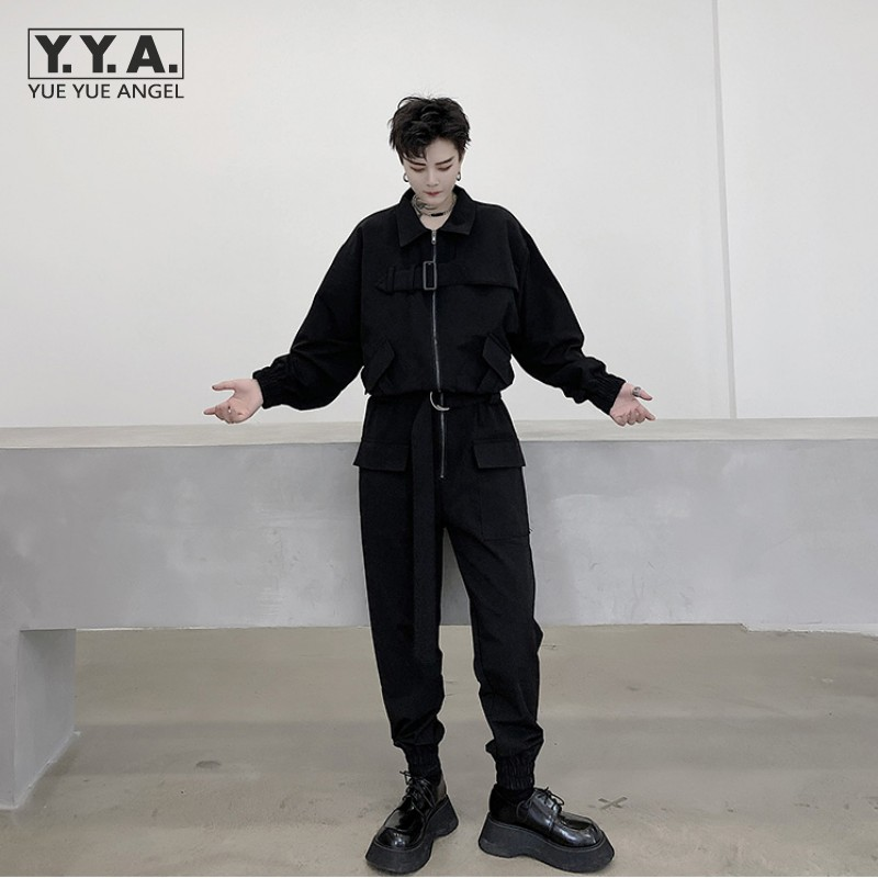 Gothic Black Casual Cargo Jumpsuit Men Autumn Hip Hop Loose Long Sleeve Multi Pockets Overalls Mens Fashion Sashes Work Rompers