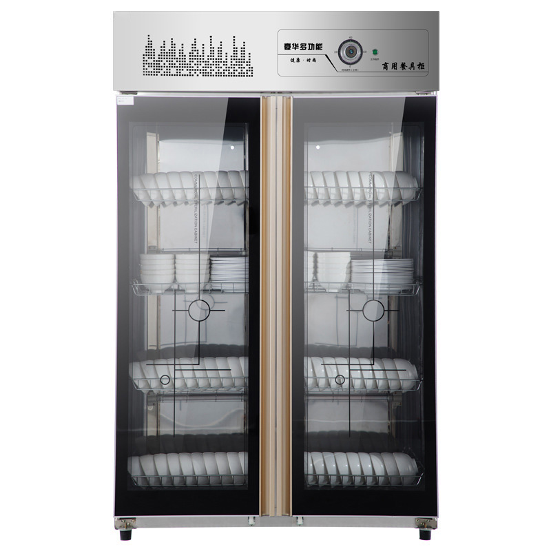 Commercial Disinfection Cabinet Vertical Stainless Steel Large Hotel Kitchen Tableware Double Door Disinfection Cupboard