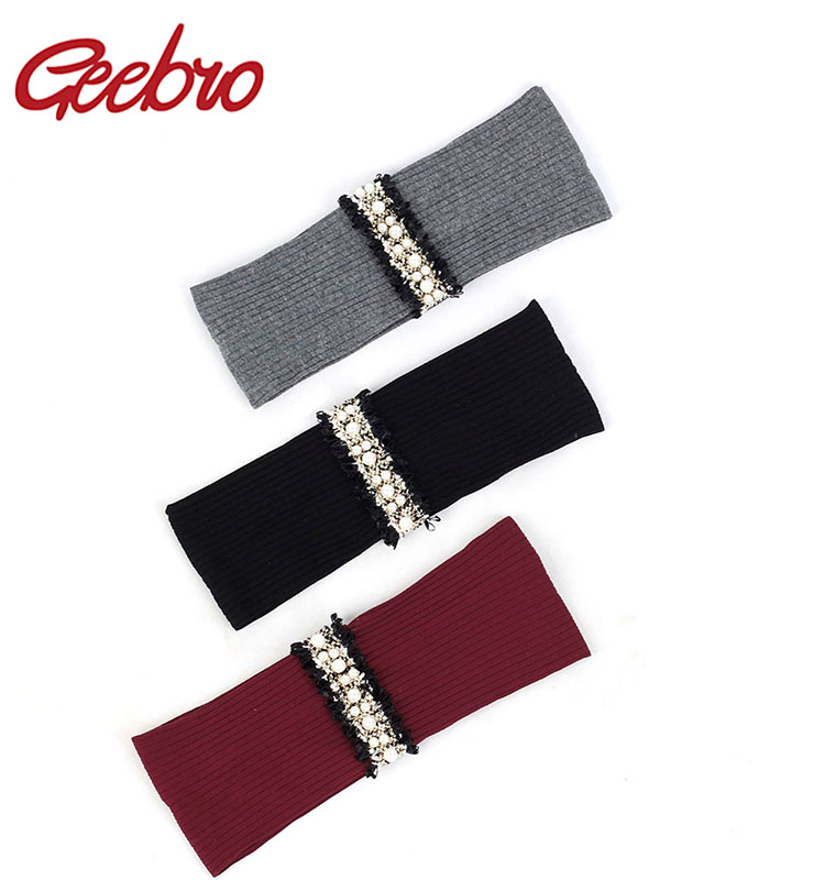 Geebro Elastic Ribbed Women Yoga Headband Delicate Pearl Beads Lace Stripe Hairband Female Hair Accessories For Lady Girls