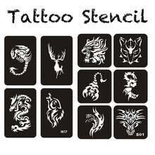 118pcs Tattoo Stencil Drawing Template for Airbrush Glitter or Henna Tattoo Power of Beasts 21cm*29cm*7sheet(China)