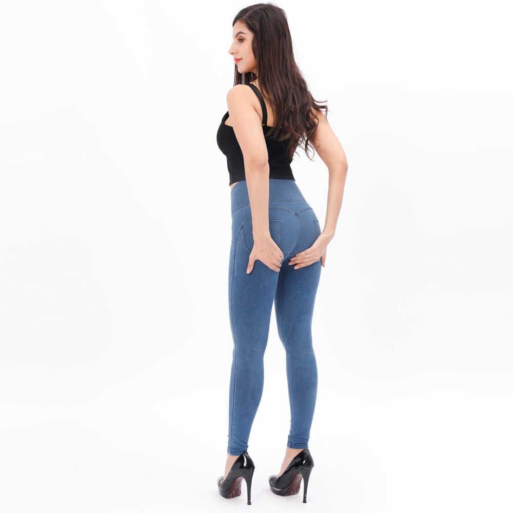 Melody lápiz jeans de cintura alta Mujer negro azul claro azul oscuro denim jeans