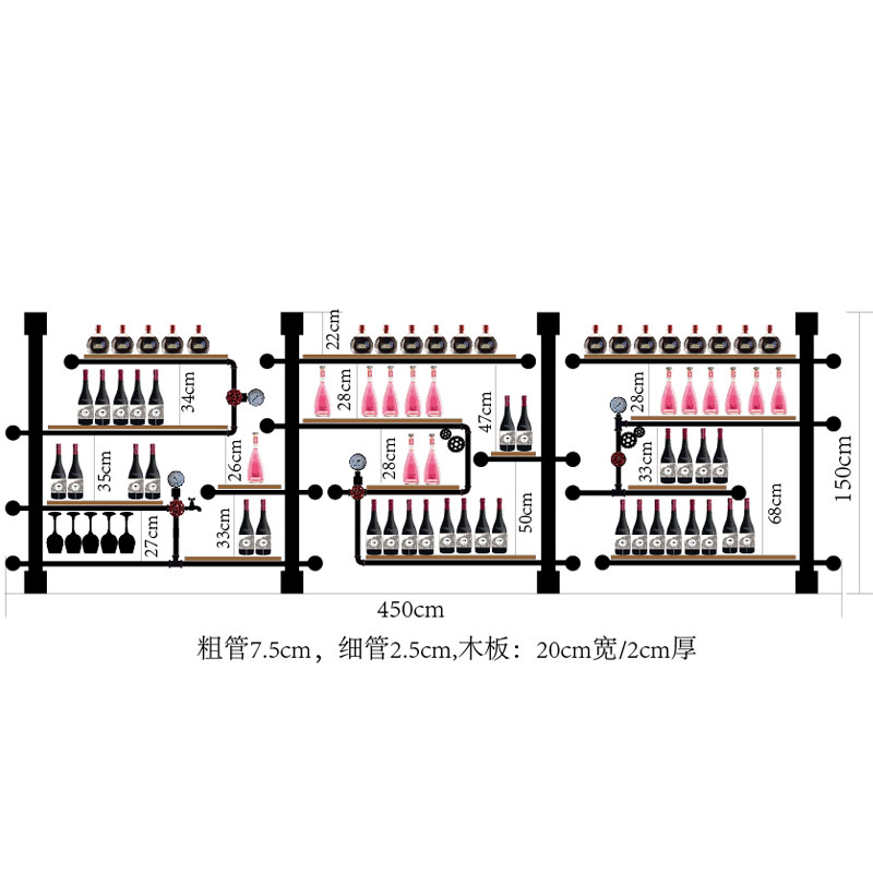 Iron Pipe And Wooden Upright Wine Holder Rack\\Bar Home Creative Violin Guitar Wine Rack Cabinet Shelf European Retro CF
