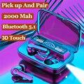 Наушники Bluetooth 5,1, беспроводные наушники Bluetooth, TWS Hi-Fi наушники-вкладыши с зарядкой, 2000 мАч, 3D наушники с сенсорным управлением, беспроводная г...