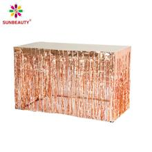 1pc Rose Gold Foil Tassel Curtains Table Skirt For Bridal Shower Bride To Be Birthday Party Wedding Baby Shower Decorations