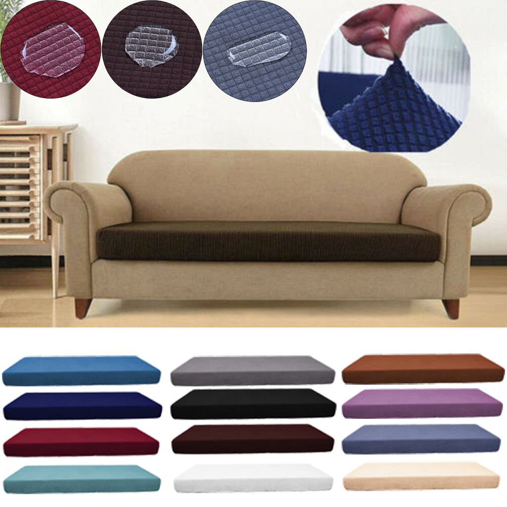 1-4 Seats Waterproof Sofa Seat Cushion Cover Couch Stretchy Slipcovers Protector image