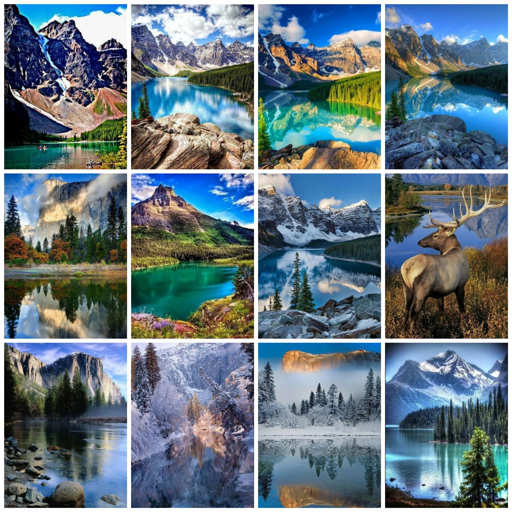 EverShine Diamond Painting Full Drill Mountain Diamond Embroidery Landscape Cross Stitch Picture Rhiestones Art Kits Wall Decor-0