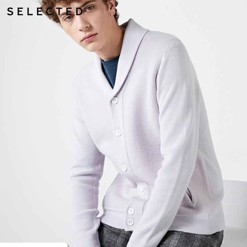SELECTED Wool-blend Turn-down Collar Cardigan Knit  S|418425517