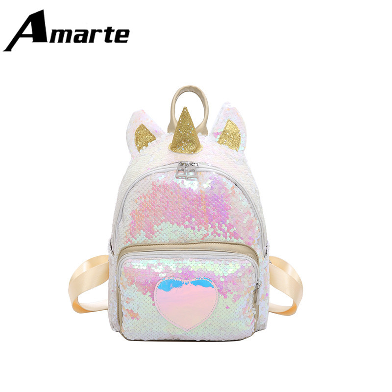 Amarte 2019 Summer Lovely Girl Mini Backpack Unicorn Shiny Women Large Capacity Cute Bag for Young