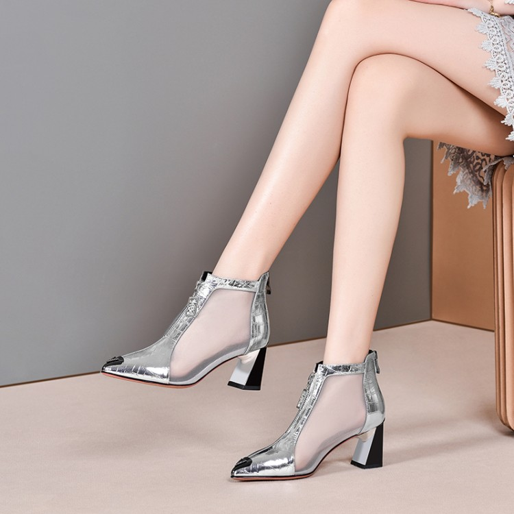 MLJUESE 2020 women ankle boots cow leather silver color pointed toe summer boots cut-outs high heels women boots party dress