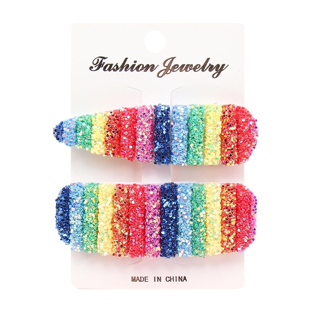 Girls Sequins Rainbow BB Hairpin Hair Clip Barrette Fashion Hair Accessories