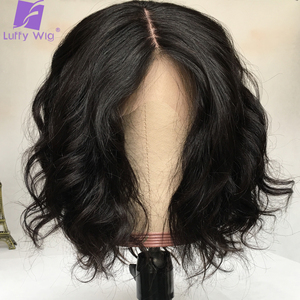 Image 1 - Short 13x4 Lace Frontal Human Hair Wigs Brazilian Remy Hair Bob 5x5 Scalp Top Wig For Women Natural Wave Black Color LUFFY