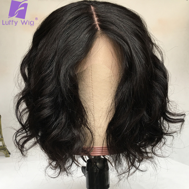 Short 13x4 Lace Frontal Human Hair Wigs Brazilian Remy Hair Bob 5x5 Scalp Top Wig For Women Natural Wave Black Color LUFFY