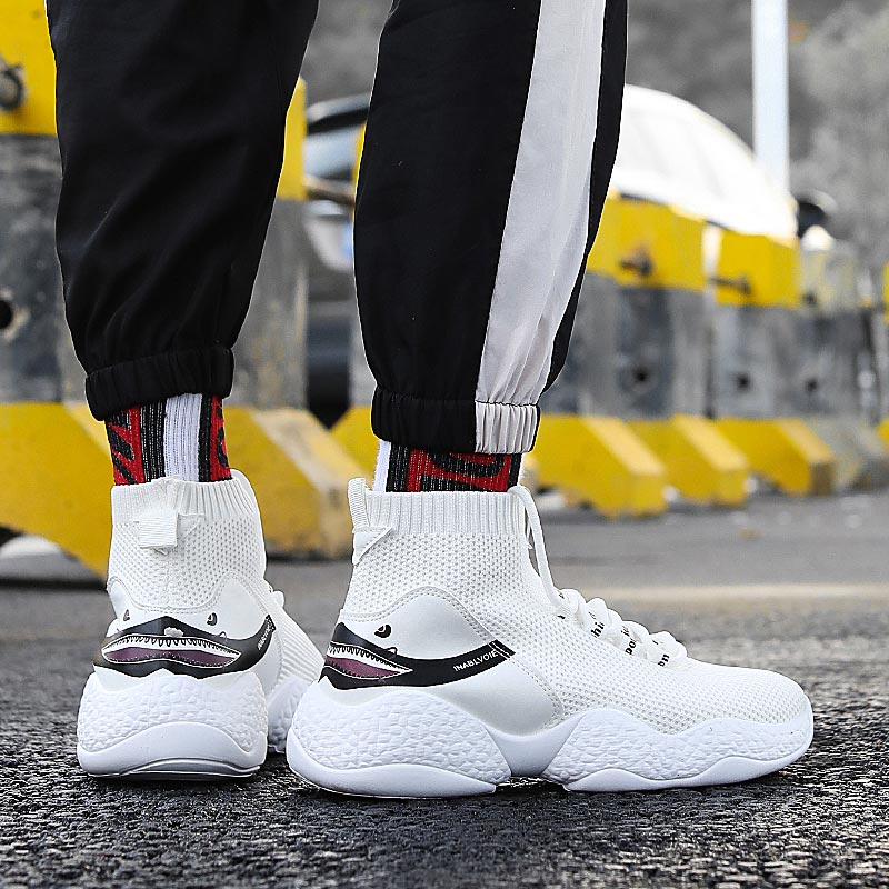 High Top Knitting Shark Sports Shoes Men Socks Sneakers Man Running Shoes Shoes Sport White Trainers Male Footwear Fitness E-370
