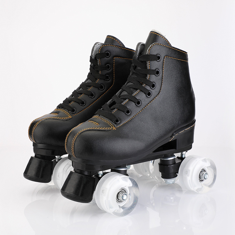 New Black White Artificial Leather Roller Skates Double Line Skates Women Adult White PU 4 Wheels Two Line Skating Shoes Patines