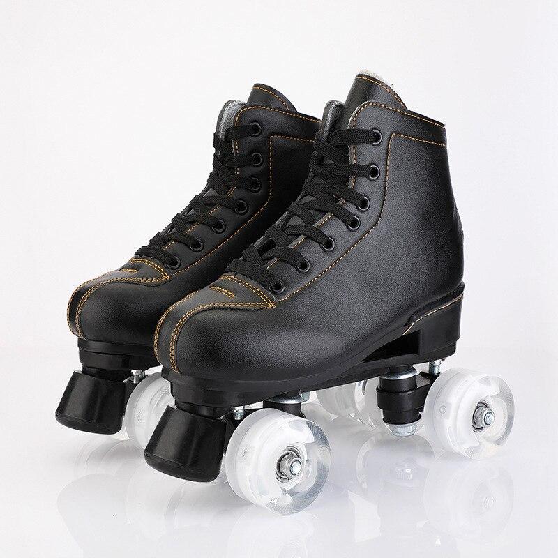 Linha de Patinação Black White Couro Artificial Linha Patins Dupla Adulto Mulheres Branco pu 4 Rodas Dois Sapatos Patines New Mod. 83391