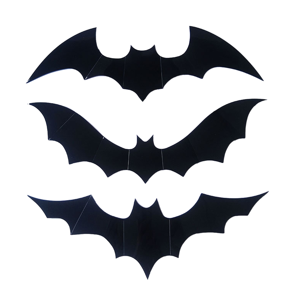 US $0 43 OFF 12pcs Wall Sticker Black 3D DIY PVC Bat Wall Sticker Decal Home Halloween Decoration with Glue new Party DIY Decorations