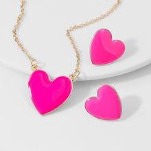 Bohemia colorido amor coração pingente colar brincos conjuntos para mulher corrente de ouro declaração gotejamento óleo coração jóias conjunto acessórios