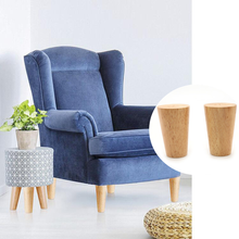 2PCS Height 8-18cm Solid Wood Furniture Support Legs Inclined Cone Replace Feet for Sofa Cabinet Table Chair Bed Furniture Parts