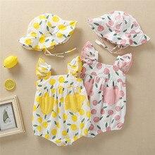 Cute Newborn Infant Baby Girls Straps Print Romper Sunsuit Hat Outfits цена