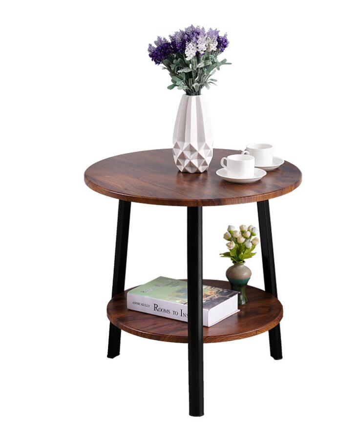Wooden Round Balcony Table Two Layer Double Table Bedside  Corner  Coffe Table