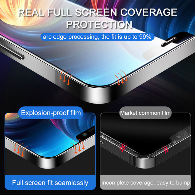 2PCS Full cover tempered protective glass on for iphone 12 mini 11 pro max iphone x xr xs max Curved Edge screen protector film 2