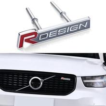 Estilo do carro 3d metal r design carta emblema grade dianteira emblema adesivo decalques para volvo rdesign v40 v60 c30 s60 s80 s90 xc60