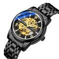 ORKINA черные мужские механические наручные часы из нержавеющей стали  роскошные  спортивные и фирменные дизайнерские часы Montre Homme