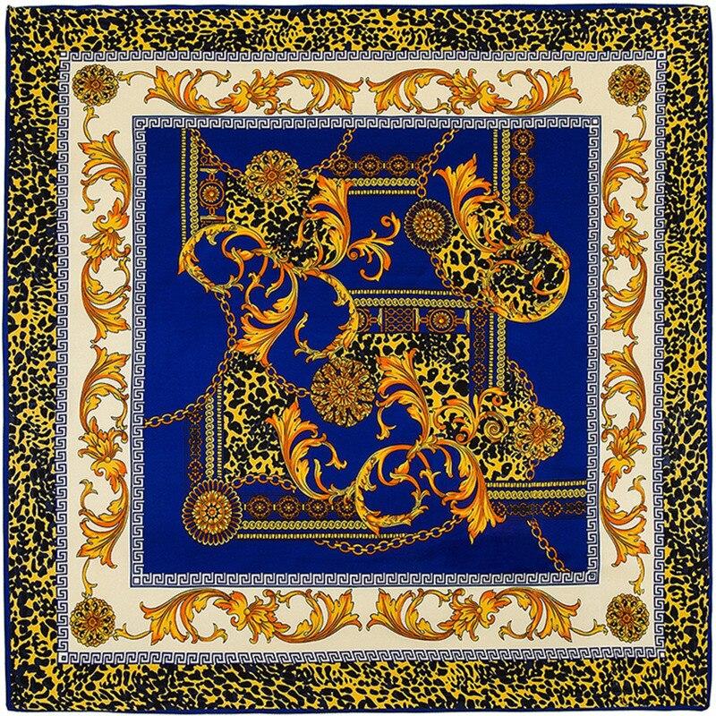 100*100cm Fashion Luxury Brand Women Silk Scarf Shawls Large Bufandas Leopard Printing  Twill Silk Square Shawls&wraps Foulard