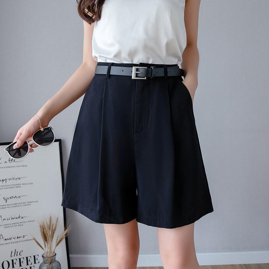 Hot Sale Fashion 2019 Summer Women Casual Zipper Wide Leg Shorts Elegant Pockets Shorts Ladies Solid High Waist Shorts