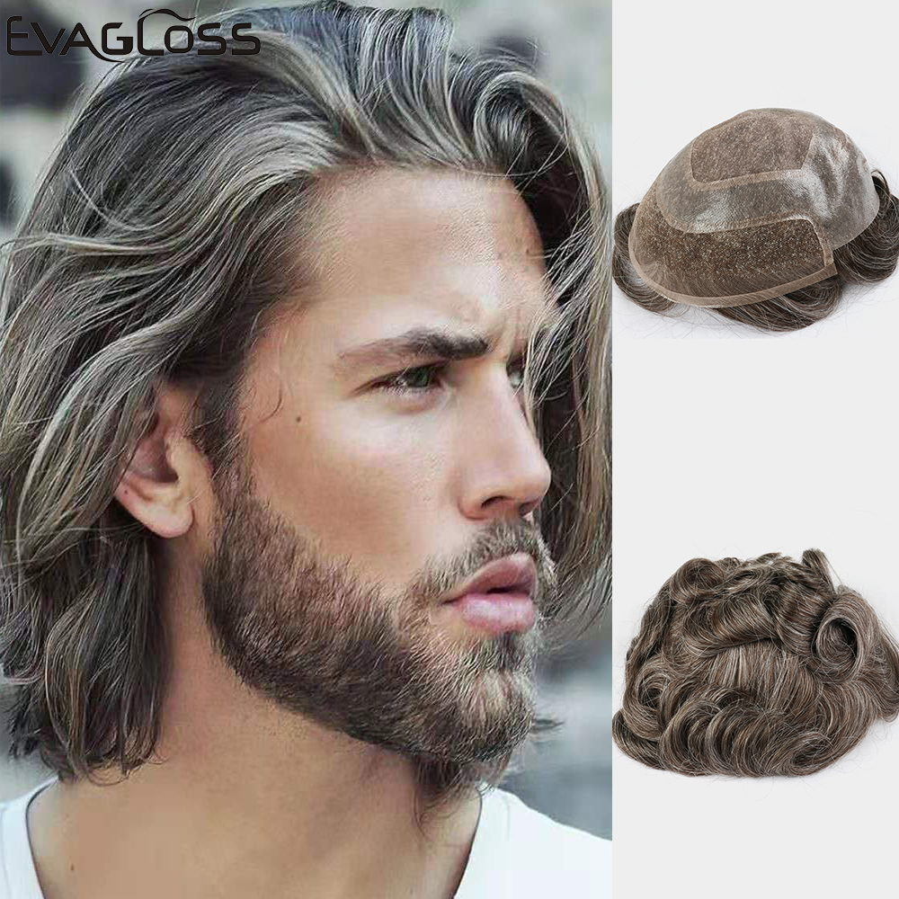 EVAGLOSS Mens Wigs Durable Nature Hairline Prosthesis Human Hair Lace Front Wig Mens Hair Replacement System Mens Toupee