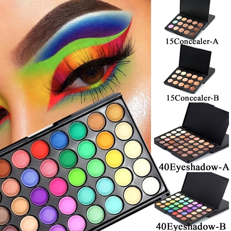 1 Piece Women Eye Fluorescent 40Colors Eyeshadow Pigment 15Colors Face Concealer Palette Festival Eyes Makeup Palette