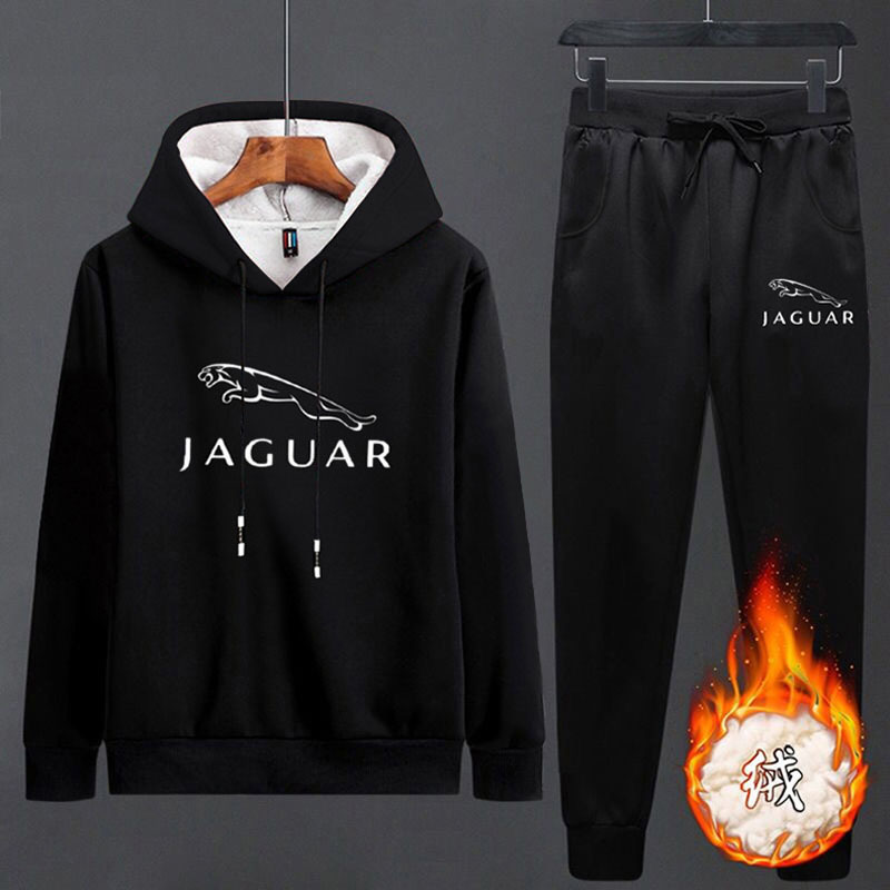 Men's Inner Layer With Fluff Keep Warm Running Set JAGUAR Print Solid Color Jogging Outdoor Sports Suit Hooded Sport Clothes