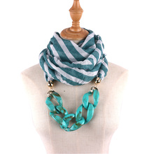 Bohemian national style jewelry necklace scarf female bamboo cotton printing fashion exaggerated chain neckpendant