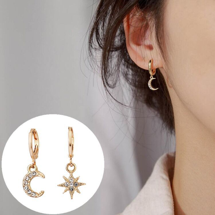 Для женщин, свисающие серьги, классический асимметричные серьги звезды и луна женские корейские украшения аксессуары из алюминиевого спла...