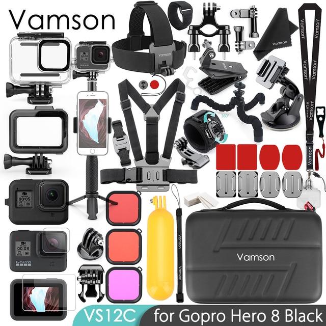 Vamson para gopro hero 8 montagem preta monopé acessórios kit caso habitação à prova dwaterproof água para go pro 8 esportes acessórios da câmera vs12