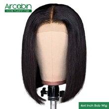 Aircabin Hair 4×4 Lace Closure Human Hair Wigs Brazilian Hair Short Bob Wig Non Remy For Black Women Glueless Lace Closure