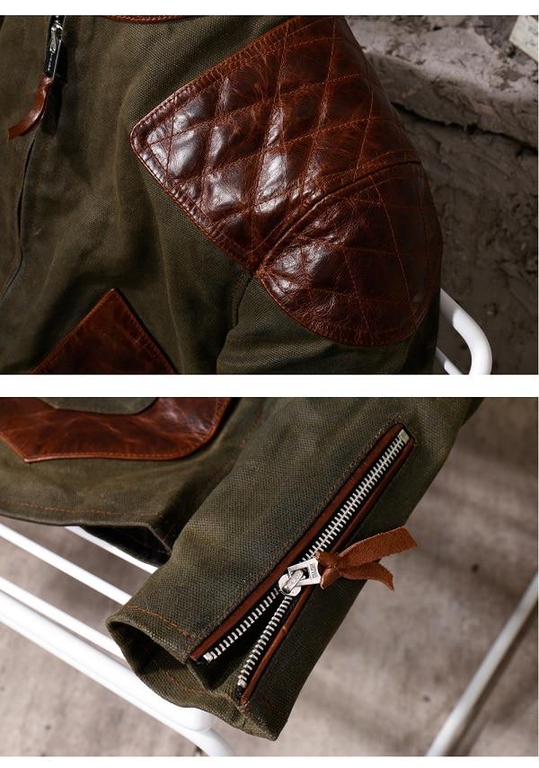 Hafcae6f7fb524b43ad0cd2b0736ae408U Free shipping.popular mens genuine leather Jacket,Us vintage Heavy wax canvas jacket stitching cowhide.quality.thick hard
