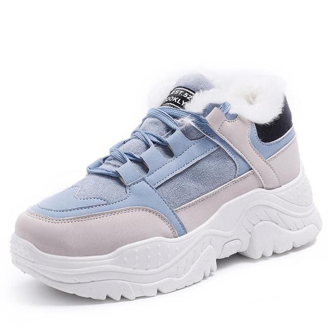 Buty damskie pluszowe śniegowce Faux buty zamszowe casualowe buty sportowe zimą lub jesienna koronka buty damskie WJ002