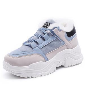 Image 1 - Kadın ayakkabı peluş kar botları sahte süet ayakkabı sneaker kış veya sonbahar dantel up kadın ayakkabısı WJ002
