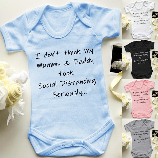 Social Distancing Baby Announcement  Baby Bodysuit Toddler Baby Rompers Summer Short Sleeve Tee Shirts