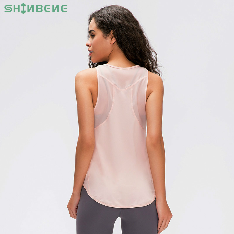 SHINBENE Ultra Thin Breathable Loose Workout Yoga Sport Vest Women Quick Dry Lightweight Running Gym Tanks Top Sleeveless Shirts
