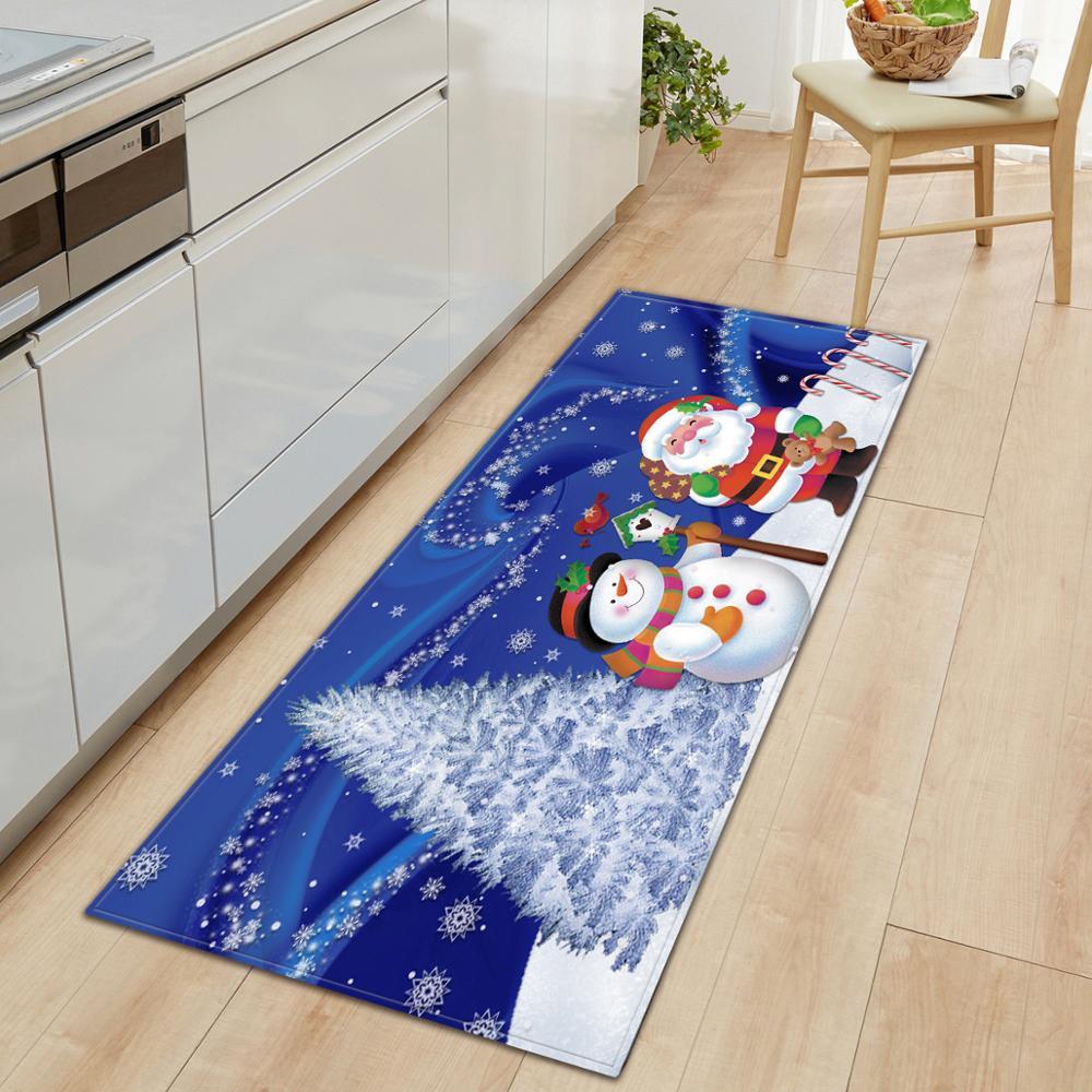 Santa Claus Christmas Tree Pattern Non-slip Mat Restaurant Kitchen Mat Home Decoration Bedroom Carpet Entrance Door Mat