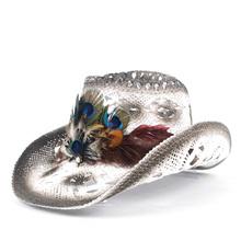 Kobiety słomy Hollow Western kapelusz kowbojski pani ręcznie pawie pióro Sombrero Hombre plaża Cowgirl Jazz kapelusz słońce rozmiar 56-58CM tanie tanio HXGAZXJQ Unisex Wełniana Dla osób dorosłych Na co dzień Stałe