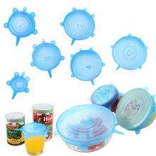 6-Pack пищевая Крышка для герметичного контейнера Универсальная крышка для чаши уплотнение Бытовая пластиковая упаковка многофункциональное страховое растяжение