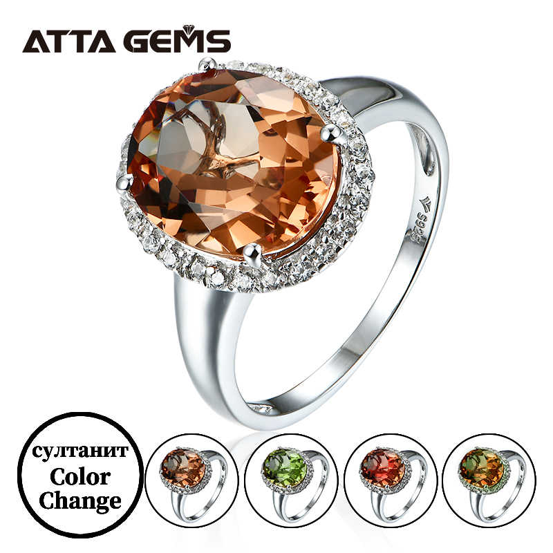 Zultanite изменение цвета Sterling Silver Ring Created Zultanite for Women Color Change Stone Design Fine Jewelry Wedding