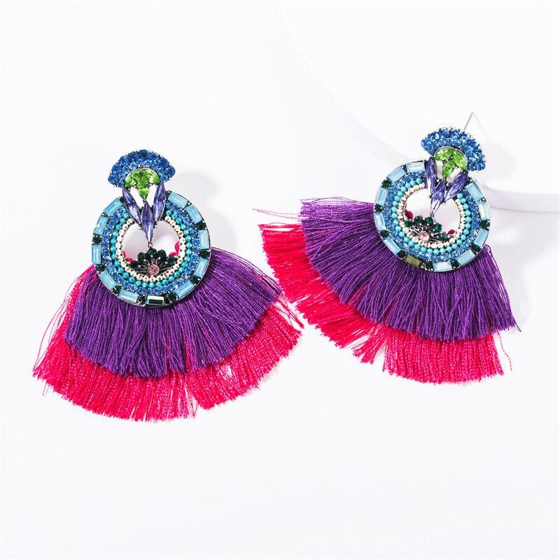 Earing jóias de moda 2019 acrílico europeu redondo flor multicamadas franja boêmio feminino vintage personalidade moda brinco