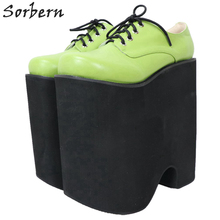 Platform Shoe Women Pumps Extreme High-Heel Green Custom-Colors Thick Sorbern Punk Lace-Up