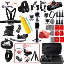 SnowHu dla Gopro akcesoria zestaw dla go pro hero 9 8 7 6 5 4 3 zestaw do montażu SJCAM dla xiao mi yi kamera dla xiomi statyw GS21