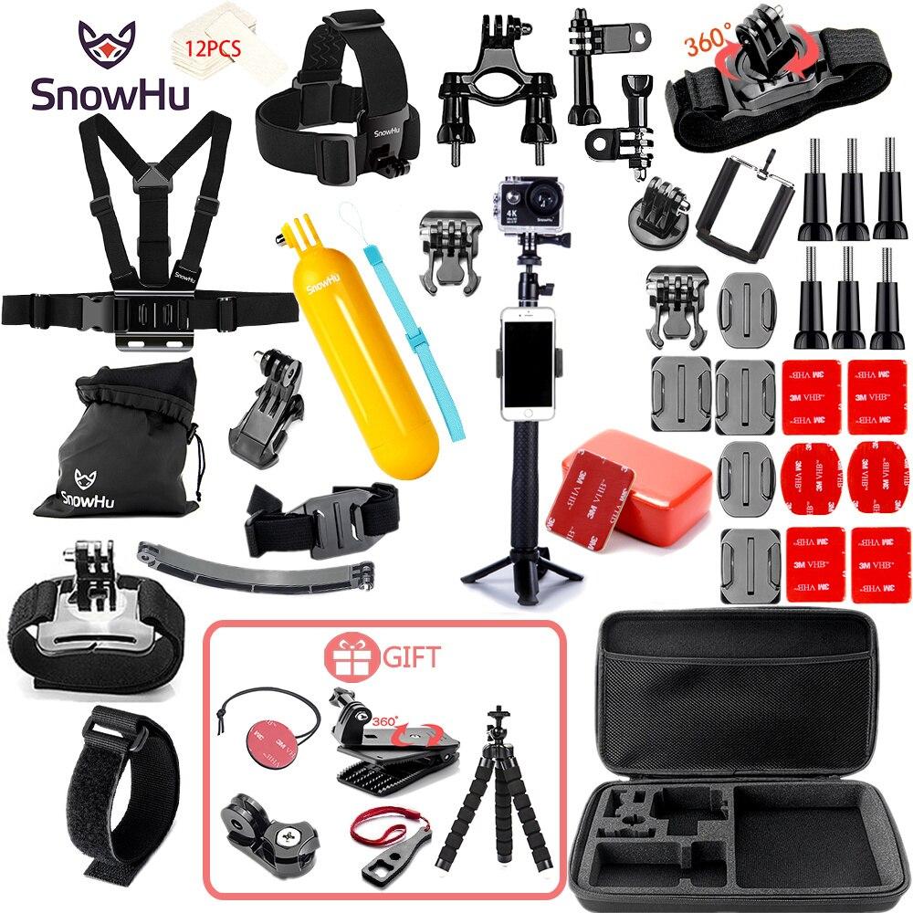 SnowHu for Gopro 9 Accessories Set tripod monopod Chest Belt Head Mount Strap Go pro Hero 9 8 7 6 SJCAM Yi 4K sport camera GS21