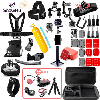 цена на SnowHu for Gopro Accessories set for go pro hero 8 7 6 5 4 3 kit mount for SJCAM for xiaomi yi camera for xiomi tripod GS21